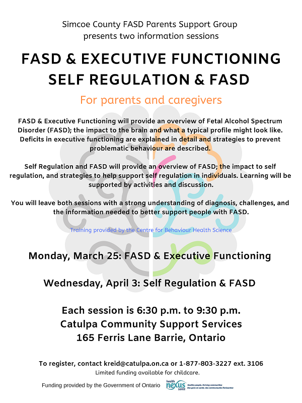 Simcoe County FASD Parents Support Group Information Session: Self-Regulation & FASD @ Catulpa Community Support Services